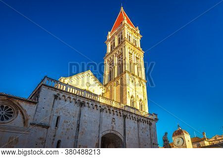 The Cathedral Of St. Lawrence In Trogir Town At Sunset, Croatia, Europe.