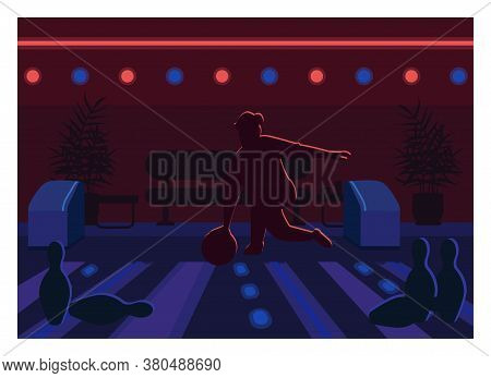Bowling Alley Flat Color Vector Illustration. Person Strike With Ball On Lane. Weekend Fun Recreatio