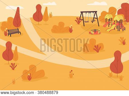 Autumn Park Zone Flat Color Vector Illustration. Nature In Fall. Leisure Time. Public Recreation Are