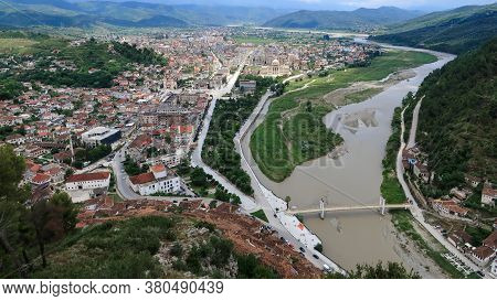 Old Town At River Shore .berat Old Town, City Center And University. View From Berat Castle, Albania