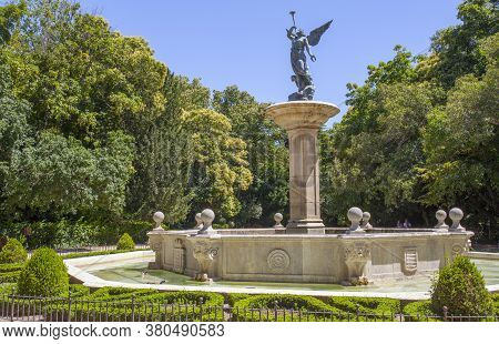 Valladolid, Spain - July 18th, 2020: Allegory Of The Fame Fountain At Campo Grande.  Large Public Pa