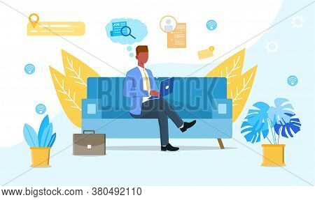 Job Search Vector Illustration. Concept Of Career In Successful Company. Man Search Work At Home Onl