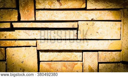 Texture Home Wall Decoration Made Of Natural Stone. Brick Wall Background. Copy Space Add Text. Ston