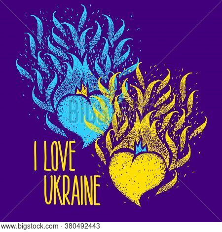 I Love Ukraine. Two Hearts Of The Color Of The Flag Of Ukraine With Hand Made Lettering. Independenc