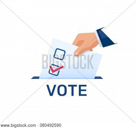 Voting Concept, Politics And Elections Illustration. Hand Puts Voting Ballot. Election Day