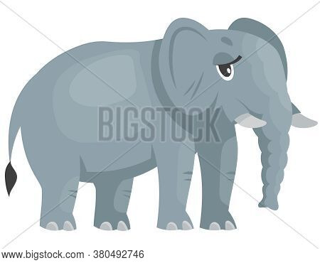 Standing Female Elephant Three Quarter View. African Animal In Cartoon Style.