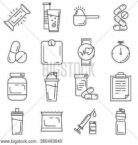 Set Of Sport And Bodybuilding Supplements And Tools Line Icons. Fitness Outline Icons Such As Whey P