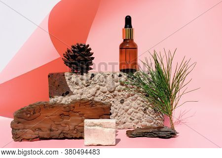 Essencial Pine Oil In A Glass Bottle On A Natural Stone Podium. Pine Needles, Cone And Bark Near Oil