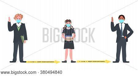 Mix Race Schoolchildren In Masks Keeping Distance To Prevent Coronavirus Pandemic Social Distancing