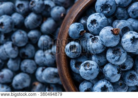 Fresh Blueberries In Wooden Bowl Copy Space Berries Background