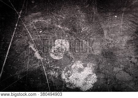 Scratched Dirty Dusty Copper Plate Texture, Old Metal Background. Cloudy And Scratchy Brass. Black A