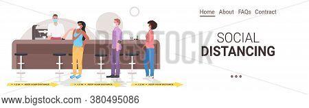 Cafe Visitors Keeping Distance To Prevent Coronavirus Pandemic Restaurant Interior Horizontal Full L