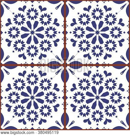 Moroccan Or Turkish Tile Seamless Vector Design, White And Indigo Blue Repetitive Geometric Pattern