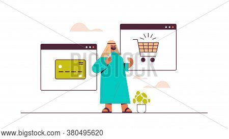 Arab Man Using Smartphone Application For Online Shopping Ordering And Paying E-commerce Smart Purch