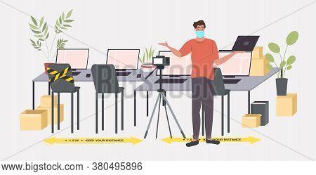 Businessman In Mask Recording Video Blog Social Distancing Coronavirus Epidemic Protection Self Isol