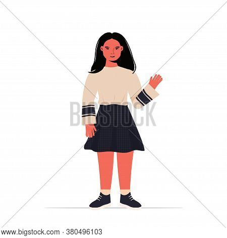 Happy Child Little Girl In Casual Trendy Clothes Female Cartoon Character Standing Pose Full Length