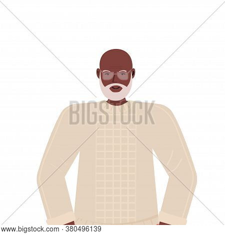 Old African American Man In Casual Trendy Clothes Senior Male Cartoon Character Gray Haired Grandfat