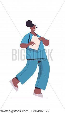 Female Doctor In Uniform Holding Clipboard Healthcare Medicine Concept African American Woman Medica