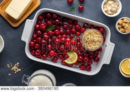 Baking Dish With Ingredients For Cooking Cherry Pie Top View
