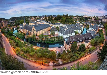 Luxembourg City. Aerial Cityscape Image Of Old Town Luxembourg At Summer Sunset.
