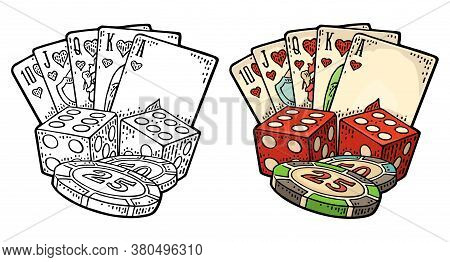 Casino Set. Royal Straight Flush Playing Cards In Hearts, Poker Chips, Dice. Vector Vintage Color En