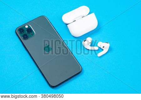 Rostov, Russia - July 06, 2020: Smartphone Apple Iphone 11 Pro Of Midnight Green Color And Wireless