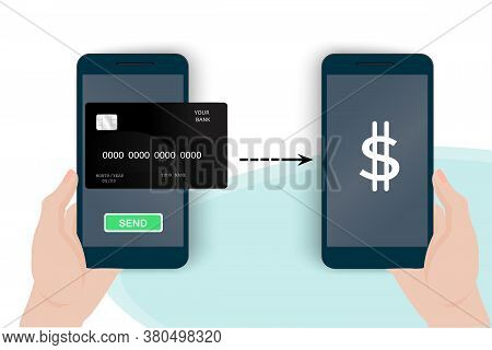 Send electronic money to the account. Transfer of money from a mobile phone. Sending and receiving money over the Internet. Vector image.