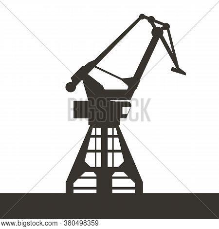 Sea Port Crane Icon For Your Design. Black Color Silhouette Of Crane. Vector Illustration.