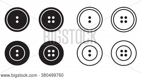 Sewing Button For Clothes Icons Set Logotype. Vector Isolated Clothing Buttons Collection In Outline
