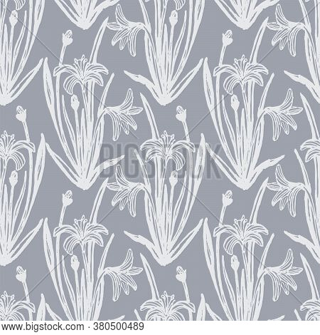 Wild Easter Lily Seamless Vector Pattern. Wildflower Pattern Of Hand Drawn Easter Lily Silhouettes I