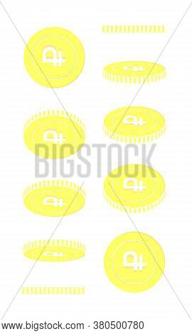 Russian Ruble Rotating Coins Set, Animation Ready. Yellow Rub Gold Coins Rotation. Russia Metal Mone