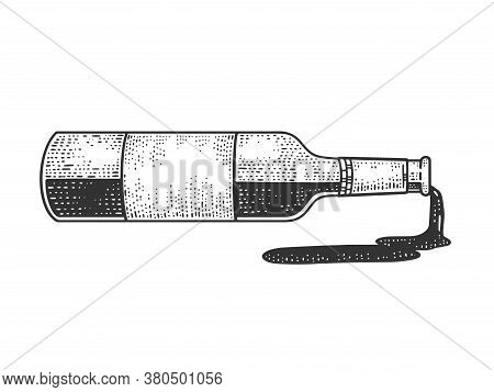 Spilled Wine From The Bottle Sketch Engraving Vector Illustration. T-shirt Apparel Print Design. Scr