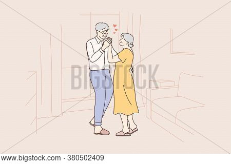 Love, Fun, Date, Couple, Romance, Dance Concept. Old Man And Woman Senior Citizens Pensioners Cartoo