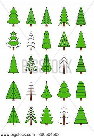 A Set Of Christmas Trees In A Simple Outline Style. Stylized Elements For New Year And Christmas. Fe