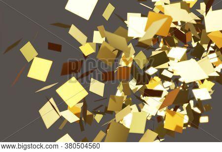 3d Illustration Broken Colorful Horizontal Background. Explosion, Destruction Cracked Surface Illust