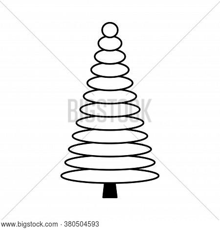 Simple Outline Style Christmas Tree. Stylized Elements For New Year And Christmas. Festive Celebrati