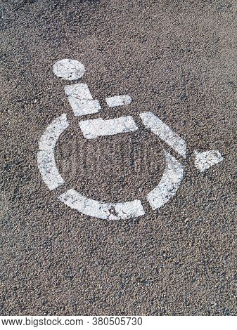 Czech Republic,uherske Hradiste, 12 August 2020: Handicapped Wheelchair Sign On The Road