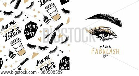Female Eye With Long Black Eyelashes, Golden Eyeshadow, Brows And Vector Seamless Pattern With Masca