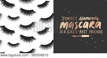 Golden Vector Quote About Mascara, Lashes, Makeup And Seamless Pattern. Fashion Set