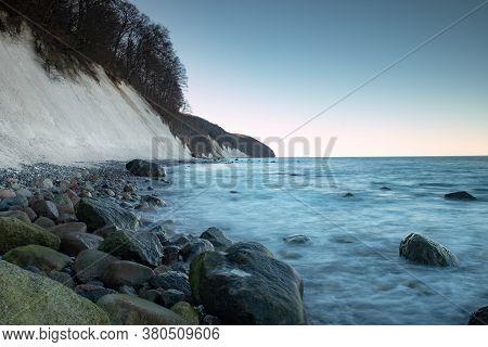 Baltic Sea Coast At Jasmud Park. Cold Autumn Morning On The Beach Close Sassnitz, Germany. White Cha