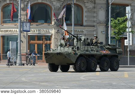 Moscow, Russia - June 20, 2020:armored Personnel Carrier Btr-82a On Tverskaya Street In Moscow Durin