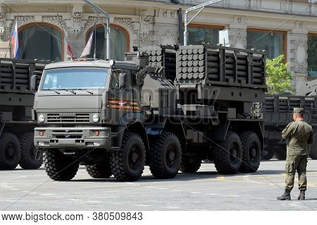 Moscow, Russia - June 20, 2020:a Combat Vehicle Of An Engineering System Of Remote Mining On A Mosco