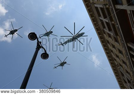 Moscow, Russia - June 20, 2020:military Transport Mi-26 And Multi-purpose Mi-8amtsh Helicopters In T
