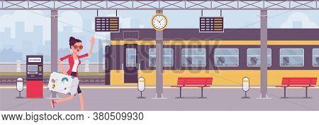 Woman Missing Train, Hurry At Trainstation. Female Tourist, Unfortunate Passenger Running In Railway