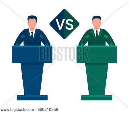 Battle Of Team Leaders, Fight Of Opponents. Comparison Vs, Versus. Man In Conference Suit On Podium,