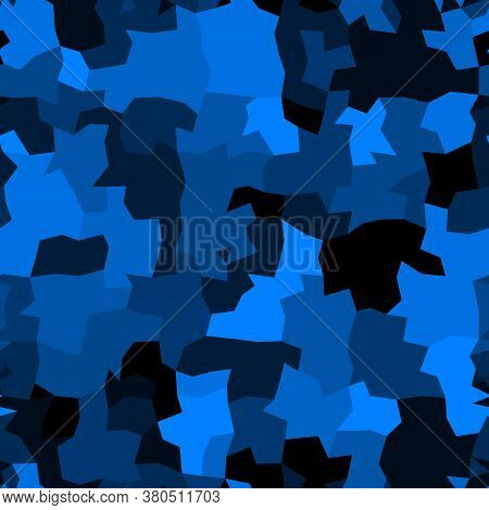 Abstract Monochrome Sapphire Blue Background. Vector Polygonal Design
