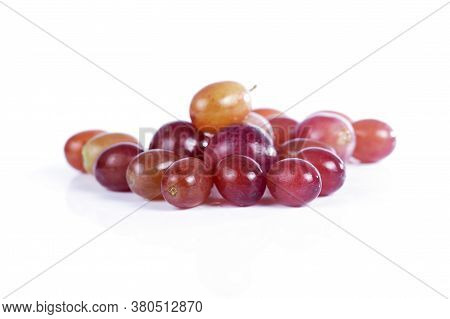 Red Grapes Isolated On The White Background