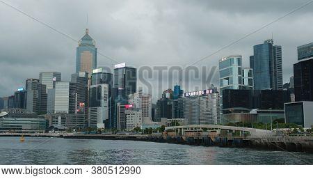 Wan Chai, Hong Kong 21 July 2020: Hong Kong city at evening