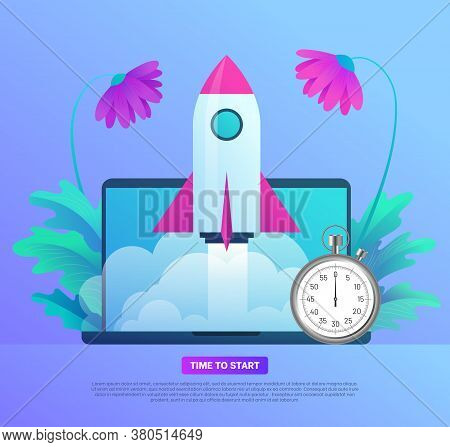 Business Start Up Banner Template. Time To Start. Space Rocket Flying Out From Laptop Screen With St