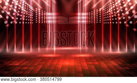 Abstract Futuristic Background Of Red Empty Stage And Neon Lighting Spotlgiht Stage Background